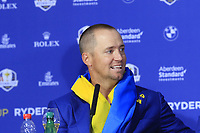 Alex Noran (Team Europe) at the press conference after Europe win the Ryder Cup 17.5 to 10.5 at the end of Sunday's Singles Matches at the 2018 Ryder Cup 2018, Le Golf National, Ile-de-France, France. 30/09/2018.<br /> Picture Eoin Clarke / Golffile.ie<br /> <br /> All photo usage must carry mandatory copyright credit (&copy; Golffile | Eoin Clarke)