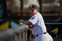 Jackson Generals Jorge Cortes (9) during a Southern League game against the Mississippi Braves on July 23, 2019 at The Ballpark at Jackson in Jackson, Tennessee.  Jackson defeated Mississippi 2-0 in the first game of a doubleheader.  (Mike Janes/Four Seam Images)