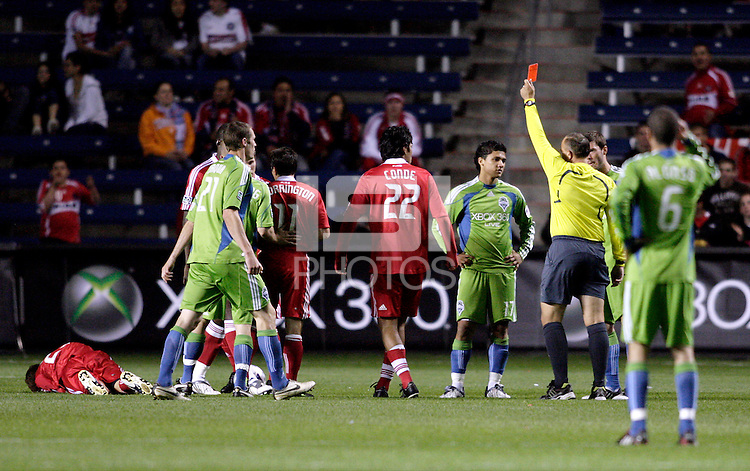Sounders FC forward Freddy Montero (17) is red carded after a hard foul on Chicago Fire defender Gonzalo Segares (25, far left).  The Chicago Fire tied the Seattle Sounders FC 1-1 at Toyota Park in Bridgeview, IL on May 2, 2009.