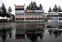 Aug. 2, 2013; Kent, WA, USA: General view of the timing tower on the starting line during a rain delay to NHRA qualifying for the Northwest Nationals at Pacific Raceways. Qualifying was cancelled for the day. Mandatory Credit: Mark J. Rebilas-USA TODAY Sports