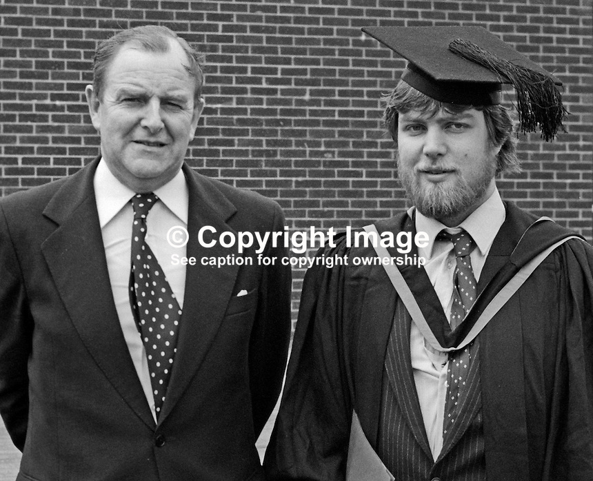 Sir John Hermon, aka Sir Jack Hermon, chief constable, RUC, Royal Ulster Constabulary, with his son, Rodney Hermon, on his graduation July 1982 at New University of Ulster. 19820700093JH1<br /> <br /> Copyright Image from Victor Patterson, 54 Dorchester Park, Belfast, UK, BT9 6RJ<br /> <br /> t: +44 28 90661296<br /> m: +44 7802 353836<br /> vm: +44 20 88167153<br /> e1: victorpatterson@me.com<br /> e2: victorpatterson@gmail.com<br /> w: www.victorpatterson.com<br /> <br /> For my Terms and Conditions of Use go to www.victorpatterson.com