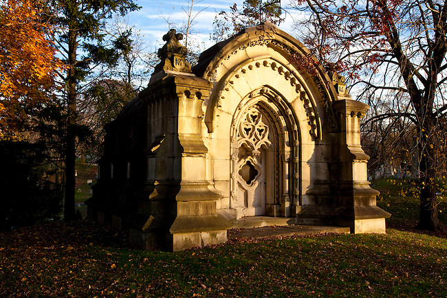 Green-Wood Cemetery was founded in 1838 as a rural cemetery in Kings County, New York, now known as Greenwood Heights, Brooklyn. The cemetery with approximately 600,000 graves is spread out over 478 acres comprised of rolling hills and several ponds. It is the final home for Jean-Michel Basquiat, Leonard Bernstein, Peter Cooper, Nathaniel Currier, Louis Moreau Gottschalk, Elias Howe, Theodore Roosevelt, Sr., Henry Steinway and many others. Green-Wood Cemetery is located in Greenwood Heights, Brooklyn, New York. USA.