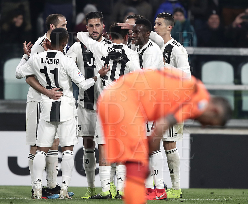 Calcio, Serie A: Juventus - Chievo Verona, Turin, Allianz Stadium, January 21, 2019.<br /> Juventus&rsquo; Emre Can celebrates after scoring with his teammates during the Italian Serie A football match between Juventus and Chievo Verona at Torino's Allianz stadium, January 21, 2019.<br /> UPDATE IMAGES PRESS/Isabella Bonotto