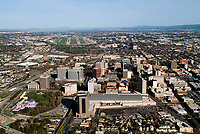 historical aerial photograph of downtown San Jose, Santa Clara, California as viewed from the final approach to San Jose International Airport (SJC) in the background, March 3, 2004