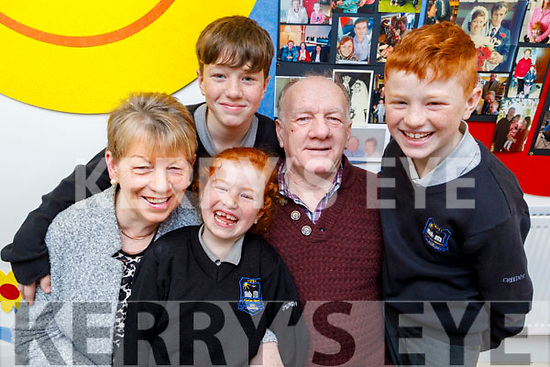 Aoibheann, Eoghan and Gearoid Joy their grandparents with her Kay and Brendan Kerins at the Grandparents Day in Scoil Nuachabháil on Friday.