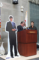"A cardboard cut-out of former Illinois Governor Rod Blagojevich stands beside actor Neil Giuntoli playing the role of late Chicago Mayor Richard J. Daley and Kevin Floyd, 30, winner of The Chicago Tribune's contest to name Blagojevich's memoirs, outside the Tribune Tower in Chicago, Illinois on March 6, 2009. Kevin Floyd, 30, is to be awarded a beef tongue for his winning entry, Rod and the Giant Impeach, after his entry surged ahead in the final minutes the online contest was open, leading Kass to speculate on Chicago-style election tactics in his column; the beef tongue was awarded ""in symbolic anticipation"" that the former governor will ""sing to the feds."""