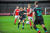 Fleetwood Town's midfielder Ged Garner (34) battles with Liverpools midfielder Jake Cain (80) during the The Leasing.com Trophy match between Fleetwood Town and Liverpool U21 at Highbury Stadium, Fleetwood, England on 25 September 2019. Photo by Stephen Buckley / PRiME Media Images.