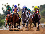 MAY 27: The field for The Gold Cup at Santa Anita races by the grandstand fro the first time at Santa Anita Park in Arcadia, California on May 27, 2019. Evers/Eclipse Sportswire/CSM
