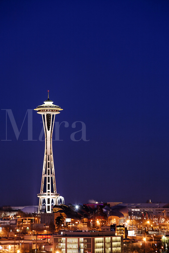 The Seattle Space Needle stands under a twilight sky, Seattle, Washington, USA<br />