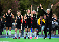 The Taupo team celebrates winning the 2017 Jenny Hair Cup girls hockey match between Taupo Nui A Tia (black and red) and Wellington College(yellow) at Hockey Manawatu Twin Turfs in Palmerston North, New Zealand on Wednesday, 6 September 2017. Photo: Dave Lintott / lintottphoto.co.nz