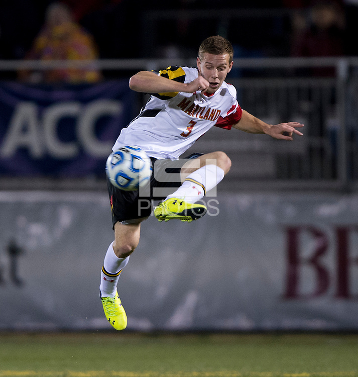 Michael Sauers (3) of Maryland controls the ball during the ACC tournament semifinals at the Maryland SoccerPlex in Boyds, MD.  Maryland defeated Clemson, 1-0, in overtime.