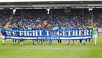 Mannschaft von Darmstadt 98 schwoert die Fans noch einmal auf den Abstiegskampf vor dem Spiel ein - 13.05.2018: SV Darmstadt 98 vs. FC Erzgebirge Aue, Stadion am Boellenfalltor, 34. Spieltag 2. Bundesliga
