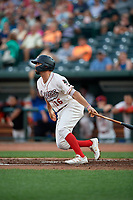 Great Lakes Loons Luke Heyer (16) at bat during a Midwest League game against the Clinton LumberKings on July 19, 2019 at Dow Diamond in Midland, Michigan.  Clinton defeated Great Lakes 3-2.  (Mike Janes/Four Seam Images)