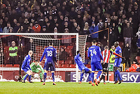 Sheffield United's forward Leon Clarke (9) makes it 1-0 during the Sky Bet Championship match between Sheff United and Cardiff City at Bramall Lane, Sheffield, England on 2 April 2018. Photo by Stephen Buckley / PRiME Media Images.