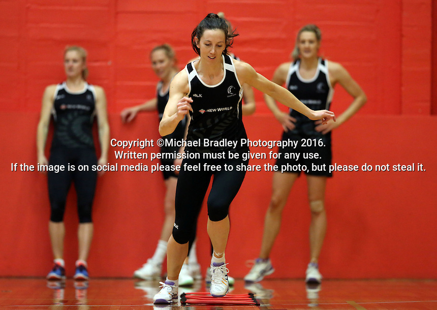13.09.2016 Silver Ferns Bailey Mes in action during training ahead of their second netball match tomorrow night between the Silver Ferns and Jamaica in Palmerston North. Mandatory Photo Credit ©Michael Bradley.