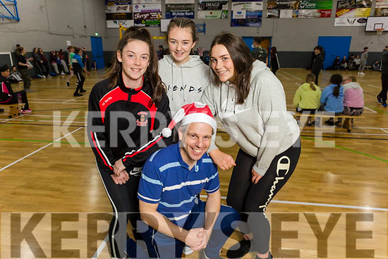 Castleisland Community College students Shauna Tagney, Emma Kerin and Rachel Murphy stand with Spike ball co-ordinator John Creagh at the ETB Spikeball Blitz in the Tralee Sports Complex on Tuesday.