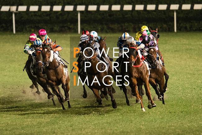 Jockeys riding their horses during the race 3 of Hong Kong Racing at Happy Valley Race Course on November 08, 2017 in Hong Kong, China. Photo by Marcio Rodrigo Machado / Power Sport Images