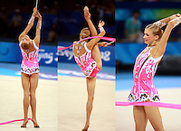 August 22, 2008; Beijing, China; Rhythmic gymnast Olga Kapranova of Russia performs ribbon routine during qualifying round on way to eventual 4th place finish in the All-Around final at 2008 Beijing Olympics. Copyright 2008 Tom Theobald.Photo note: Image framing is bit odd (5600 x 7736 pixels) due collage construction.