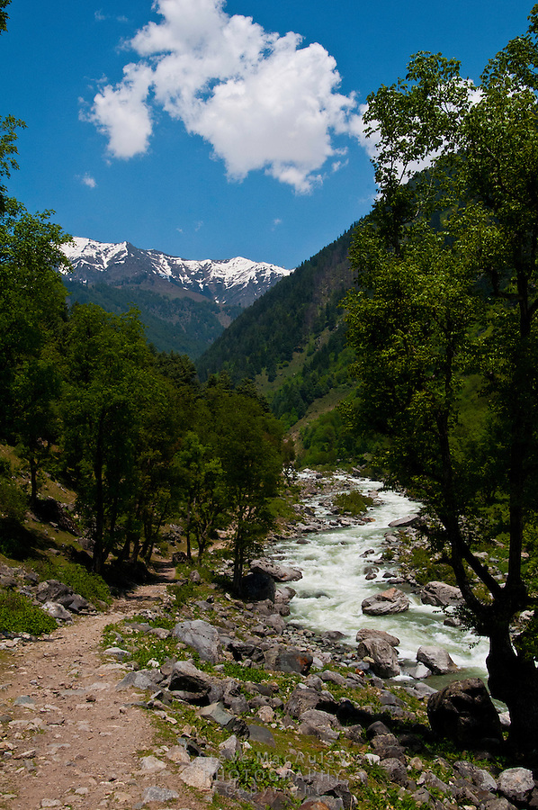 Trekking path along the Kanka River, a tributary of the Sindh River, Indian Himalaya, Kashmir, India