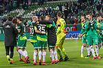 10.02.2019, Weser Stadion, Bremen, GER, 1.FBL, Werder Bremen vs FC Augsburg, <br /> <br /> DFL REGULATIONS PROHIBIT ANY USE OF PHOTOGRAPHS AS IMAGE SEQUENCES AND/OR QUASI-VIDEO.<br /> <br />  im Bild<br /> Schlussjubek vor den <br /> ans der Ostkurve <br /> Johannes Eggestein (Werder Bremen #24)<br /> Maximilian Eggestein (Werder Bremen #35) <br /> Claudio Pizarro (Werder Bremen #04)<br /> Milos Veljkovic (Werder Bremen #13)<br /> Jiri Pavlenka (Werder Bremen #01)<br /> Niklas Moisander (Werder Bremen #18)<br /> Marco Friedl (Werder Bremen #32)<br /> Ludwig Augustinsson (Werder Bremen #05)<br /> Nuri Sahin (Werder Bremen #17)<br /> Max Kruse (Werder Bremen #10)<br /> Philipp Bargfrede (Werder Bremen #44)<br /> Joshua Sargent (Werder Bremen #19)<br /> Milot Rashica (Werder Bremen #11)<br /> Sebastian Langkamp (Werder Bremen #15)<br /> <br /> Foto © nordphoto / Kokenge