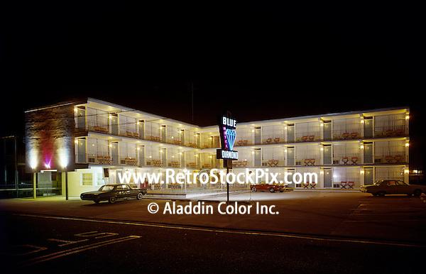 Blue Diamond Motel, North Wildwood, NJ. 1960's Night Exterior