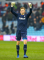 Leeds United's Bailey Peacock-Farrell celebrates after the match<br /> <br /> Photographer Alex Dodd/CameraSport<br /> <br /> The EFL Sky Bet Championship - Aston Villa v Leeds United - Sunday 23rd December 2018 - Villa Park - Birmingham<br /> <br /> World Copyright &copy; 2018 CameraSport. All rights reserved. 43 Linden Ave. Countesthorpe. Leicester. England. LE8 5PG - Tel: +44 (0) 116 277 4147 - admin@camerasport.com - www.camerasport.com