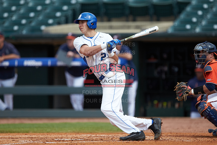 Zack Kone (2) of the Duke Blue Devils follows through on his swing against the Virginia Cavaliers in Game Seven of the 2017 ACC Baseball Championship at Louisville Slugger Field on May 25, 2017 in Louisville, Kentucky. The Blue Devils defeated the Cavaliers 4-3. (Brian Westerholt/Four Seam Images)