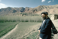 Abdul Karim Khalili, spiritual and political Leader of the Hazara people in Yakawlang..The day he was elect by the Hazara Shoura in Mazar e Sharif, He flight by helicopter to Yakawlang and become the successor of Mazari. ..Abdul Karim Khalili is son of Mohammad Aslam. Karim Khalili was born in 1329 H.S. (1950) in Qol-e-Khesh Behsud. It means, a part of Behsud district, province of Maidan. Today Abdul Karim Khalili is the current Leader of Hizb-e-Wahdat and Vice President of Afghanistan...Abdul Ali Mazari was born 1946 in the village of Charkint, south of the city of Mizar-i-Shrief, in northern Afghanistan, into a Hazara family. That is the reason he used surname Mazari..He studied theology in Qom, Iran. There he got involved in the Mujahideen resistance movement against the Russians in Afghanistan. He was one of the leading figures in unifying the Hazara resistance parties into one unified party, Hizb-i-wahdat (Unity Party). This party played a leading and positive role in voicing and fighting for the oppressed Hazara people of Afghanistan. During the civil war it held all the Hazara-populated areas in Afghanistan. He was highly respected figure among the Hazaras, for he had given them a voice and pride, he was affectionately called Baba (father) Mazari and Ustad (teacher) Mazari..During the siege of Kabul, the Talibans lured him for negotiations and then brutally killed him on Sunday 21/12/1373 (March 11 1995). His funeral procession march on foot from Kabul to Bamiyan and then Mazar-i-Sharif, where he was buried.