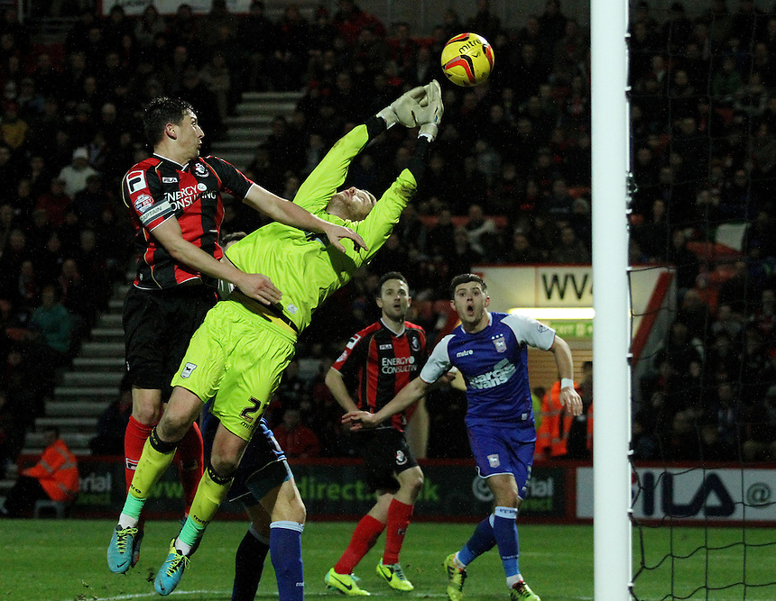Ipswich Town's keeper Dean Gerken pushes the ball into his own net for it to be disallowed.<br /> <br /> Photo by James Marsh/CameraSport<br /> <br /> Football - The Football League Sky Bet Championship - AFC Bournemouth v Ipswich Town - Sunday 29th December 2013 - Goldsands Stadium - Bournemouth<br /> <br /> &copy; CameraSport - 43 Linden Ave. Countesthorpe. Leicester. England. LE8 5PG - Tel: +44 (0) 116 277 4147 - admin@camerasport.com - www.camerasport.com