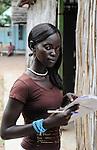SOUTH SUDAN  Bahr al Ghazal region , Lakes State, village Mapourdit, Dinka Rachael Ayen Mayor doing a training at Radio Good News / SUED-SUDAN  Bahr el Ghazal region , Lakes State, Dorf Mapourdit , Rachael Ayen Mayor macht ein Praktikum bei Radio Good News