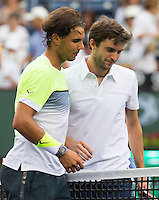 RAFAEL NADAL (ESP), GILLES SIMON (FRA)<br /> <br /> Tennis - BNP PARIBAS OPEN 2015 - Indian Wells - ATP 1000 - WTA Premier -  Indian Wells Tennis Garden  - United States of America - 2015<br /> &copy; AMN IMAGES