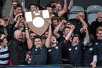 11 March 2013; Campbell celebrate winning the Medallion Shield Final between Wallace High School and Campbell College at Ravenhill, Belfast, DICKSONDIGITAL
