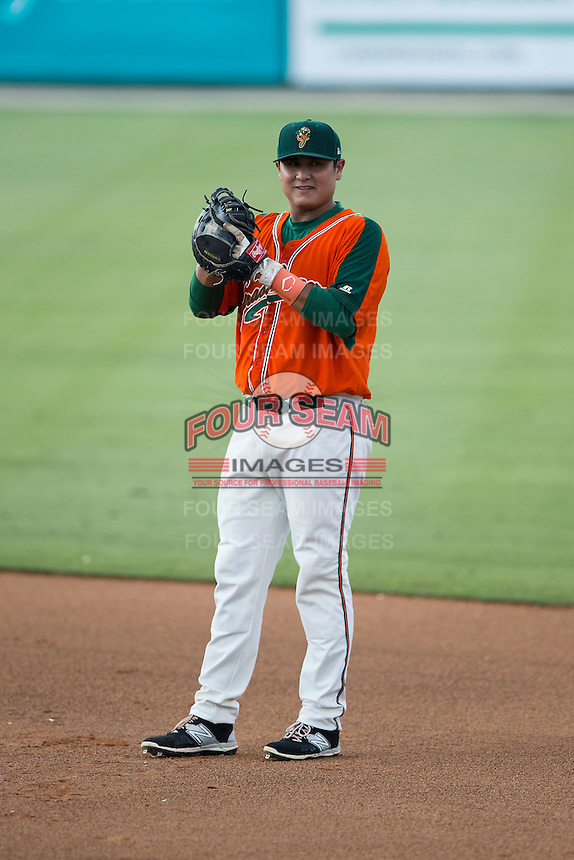Greensboro Grasshoppers first baseman Arturo Rodriguez (54) on defense against the Kannapolis Intimidators at CMC-Northeast Stadium on June 11, 2015 in Kannapolis, North Carolina.  The Intimidators defeated the Grasshoppers 7-6.  (Brian Westerholt/Four Seam Images)