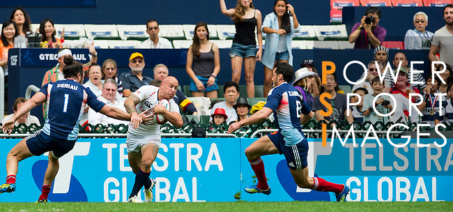 United States play France on Day 2 of the Cathay Pacific / HSBC Hong Kong Sevens 2013 on 23 March 2013 at Hong Kong Stadium, Hong Kong. Photo by Aitor Alcalde / The Power of Sport Images