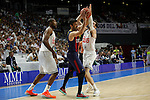 Real Madrid´s Salughter and Rudi Fernandez and Barcelona´s Navarro during Liga Endesa Final first match at Palacio de los Deportes in Madrid, Spain. June 19, 2015. (ALTERPHOTOS/Victor Blanco)