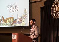 Spirit of State Awards ceremony. Mukhunth Raghaven speaking.<br />  (photo by Megan Bean / &copy; Mississippi State University)