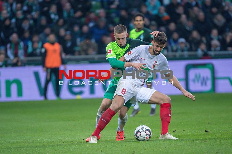 10.02.2019, Weser Stadion, Bremen, GER, 1.FBL, Werder Bremen vs FC Augsburg, <br /> <br /> DFL REGULATIONS PROHIBIT ANY USE OF PHOTOGRAPHS AS IMAGE SEQUENCES AND/OR QUASI-VIDEO.<br /> <br />  im Bild<br /> Rani Khedira (FC Augsburg #08)<br /> Johannes Eggestein (Werder Bremen #24)<br /> <br /> <br /> Foto &copy; nordphoto / Kokenge