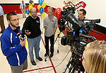 BROOKINGS, SD - SEPTEMBER 23:  South Dakota State University's Zach Zenner talks to the media following a presentation at Hillcrest Elementary. Zenner was named to the 2014 Allstate AFCA Good Works Team Tuesday afternoon. (Photo/Dave Eggen/Inertia)