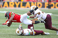 College Park, MD - September 22, 2018:  Maryland Terrapins wide receiver DJ Turner (1) gets tackled during the game between Minnesota and Maryland at  Capital One Field at Maryland Stadium in College Park, MD.  (Photo by Elliott Brown/Media Images International)