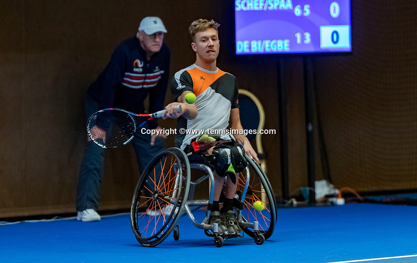 Alphen aan den Rijn, Netherlands, December 16, 2018, Tennispark Nieuwe Sloot, Ned. Loterij NK Tennis, Wheelchair doubles final, Rody de De Bie (NED)<br /> Photo: Tennisimages/Henk Koster