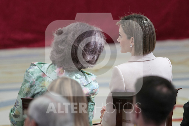 Queen Sofia of Spain (L) and Queen Letizia of Spain attend 'Reina Sofia Awards' for Integration and Rehabilitation for people with disabilities at El Pardo Palace in Madrid, Spain. April 29, 2015. (ALTERPHOTOS/Victor Blanco)