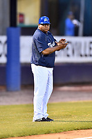 Asheville Tourists manager Robinson Cancel (37) during a game against the Delmarva Shorebirds at McCormick Field on May 4, 2019 in Asheville, North Carolina. The Shorebirds defeated the Tourists 4-0. (Tony Farlow/Four Seam Images)