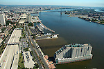 Aerial view of Penns landing, The Dockside Condos, The Chart house restaurant, Seaport Museum, Route 95, and columbus blvd, Philadelphia, Pennsylvania