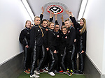 The Sheffield United Ladies pose for a photo in the tunnel before kick off during the FA Women's Cup First Round match at Bramall Lane Stadium, Sheffield. Picture date: December 4th, 2016. Pic Clint Hughes/Sportimage