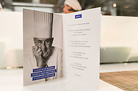 Melbourne, Australia - February 16, 2018: The menu for a Tribute dinner for Paul Bocuse by Chef Philippe Mouchel at Restaurant Philippe in Melbourne, Australia. Photo Sydney Low