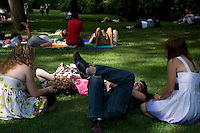 Relaxing on the Sheep Meadow in Central Park, New York