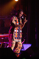 July 12 2002, Montreal, Quebec, Canada<br /> <br /> FEMI KUTI & the Positive Force, from Nigeria, plays the Spectrum, in Montreal, Canada, July 12, 2002 during the Nuits d'afriques Festival.<br /> <br /> The princely son of indomitable Fela is now an Afrobeat king in his own right. Traditional Yoruba rhythms and melodies are married to funk and jazz, soul, salsa and hip hop. Femi's latest release is aptly titled Fight To Win.<br /> <br /> Mandatory Credit: Photo by Pierre Roussel- Images Distribution. (©) Copyright 2002 by Pierre Roussel <br /> <br /> NOTE : <br />  Nikon D-1 jpeg opened with Qimage icc profile, saved in Adobe 1998 RGB<br /> .Uncompressed  Uncropped  Original  size  file availble on request.