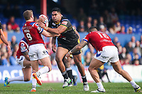 Picture by Alex Whitehead/SWpix.com - 12/03/2017 - Rugby League - Betfred Super League - Wakefield Trinity v Salford Red Devils - Beaumont Legal Stadium, Wakefield, England - Salford's Lama Tasi is tackled by Wakefield's Kyle Wood and Tinirau Arona.