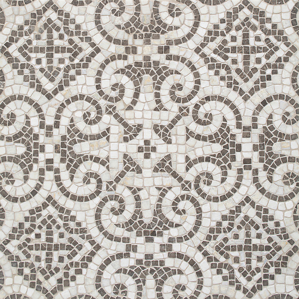 Palma, a hand-cut stone mosaic, shown in tumbled Cloud Nine and Kehena, is part of the Miraflores Collection by Paul Schatz for New Ravenna.