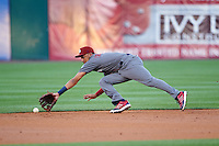 Lehigh Valley IronPigs shortstop J.P. Crawford (3) fields a ground ball during a game against the Buffalo Bisons on August 29, 2016 at Coca-Cola Field in Buffalo, New York.  Buffalo defeated Lehigh Valley 3-2.  (Mike Janes/Four Seam Images)